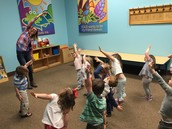 Erin lead us in Yoga because the music teacher was out- the kids loved it!