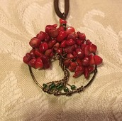 Bright Red Coral Happy Heart Tree of Life Pendant