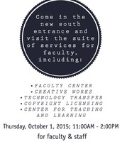 Thursday: Library: South Entrance, Faculty Center and Open House