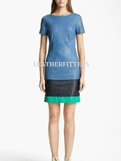 Tricolor Spring  StyleLeather Dresses for Women