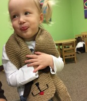 Brown day: Addison in her cute brown scarf.