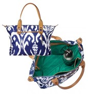 HOW DOES SHE DO IT BAG IN BLUE IKAT