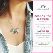 "6 different charm necklaces "" Candi for a cause"""