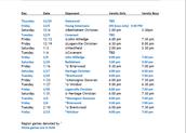 High School Girl's Basketball Schedule
