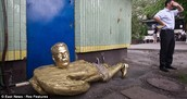 Toppled statue of Stalin