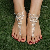 Silver Pyramid Barefoot Sandal
