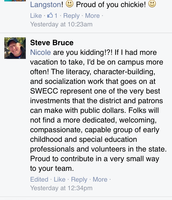 A board member makes positive comments about us on his Facebook page!