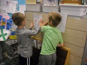 Collaborating in math! Great minds working hard!