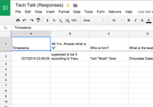 Recording Answers on Google Spreadsheet
