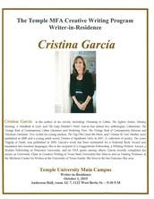 Creative Writer In Residence Cristina Garcia