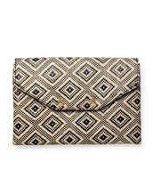 SOLD - City Slim Clutch - Diamond Raffia