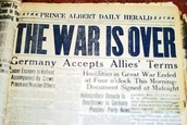 November 11, 1918 - end of fighting