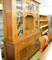 Stunning California Country Stained Glass China Cabinet