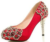 red cheetah pumps