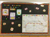 Full bulletin board outside the lunchroom.