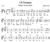 "The lyrics to Stephens famous song ""Oh Suzanna"""