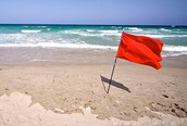 Don't swim when red flag appears!