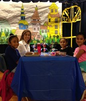 """3rd grade Panthers enjoying lunch on stage at """"Bluebonnet Cafe"""" for reading Bluebonnet books!"""