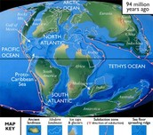 Map during Cretaceous