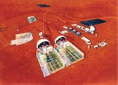 Artist's concept of a habitat for a Mars colony.