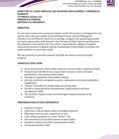 Director of Client Services & Business Development pg. 1