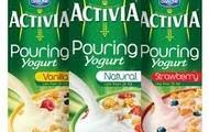 Activia pouring yogurts