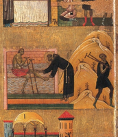 Particolare delle storie di San Francesco, lato destro, (dall'alto) La guarigione dello storpio, La guarigione dello zoppo, La guarigione dell'indemoniata