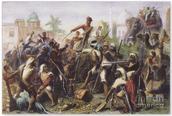 A portrait showing Indians dividing the spoils of the British