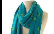 Bryant Park Scarf - Blue with Green Sparrows