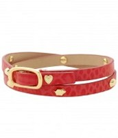 Hudson Leather Wrap Bracelet- Red