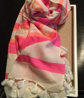 White and Pink Scarf - sample price $20