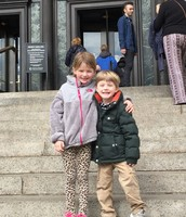Betty and her brother at the National History Museum