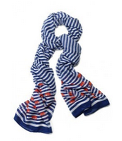 SOLD Scarf - Navy/White Stripe w Elephants $30