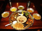 Various vegetarian dishes from Mumbai, India.