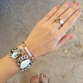 Aquamarina statement bracelet and open ring.