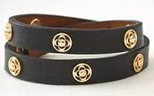 Clover Wrap Bracelet Black with gold
