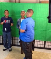 Getting ready to record Math video in the news room