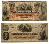 Civil war currency, Greenbacks.