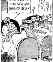 Political cartoon showing The US's unworried and detached view of issues in Europe