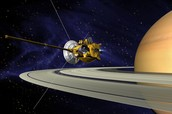 Cassini spacecraft orbiting saturn