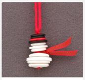 Snowman Ornament w/ Buttons