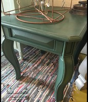 Teal Chalk Paint Side Table - $55