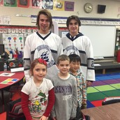 Evamere students had a special visit from the Hudson Hockey players.