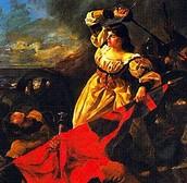 Maria Pita fighting in the war