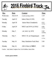 2016 Track Schedule