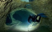Underwater cave in the Indian Ocean.