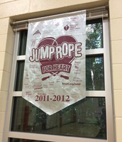 Students that have participated in JRFH sign the banner - great idea!