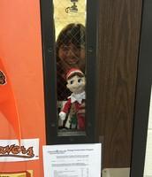 Bridget found him peeking out Grimes' window!