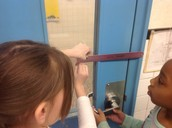 Learning measuring by measuring in Roiann Morford's second grade class