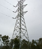 Electric tower, next to a forest